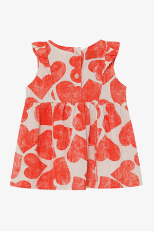 All Over Hearts Ruffle Dress