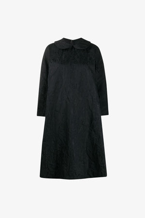 Abstract-Jacquard Round-Collar Shift Dress
