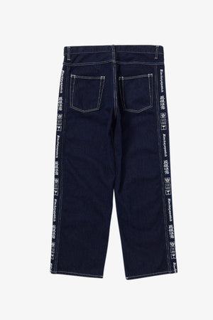 Handle With Care Denim Pants Bold Stitched