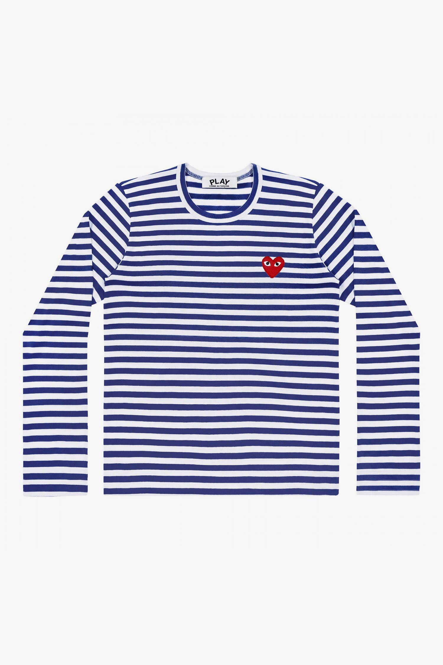 Selectshop FRAME - COMME DES GARCONS PLAY Red Heart Blue Stripes Longsleeve T-Shirt Dubai