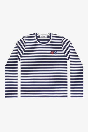 Selectshop FRAME - COMME DES GARCONS PLAY Double Heart Blue Stripes Longsleeve T-Shirt Dubai