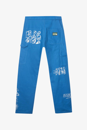 Printed Canvas Carpenter Pant