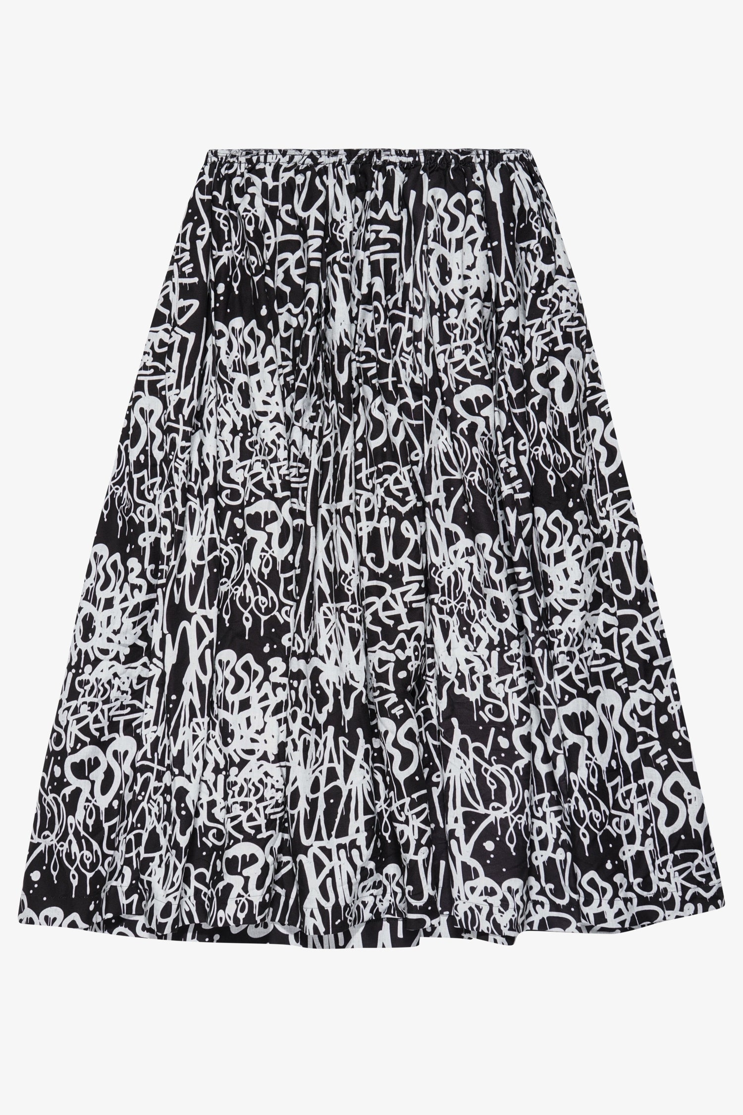 Graffiti Print High Waist Skirt