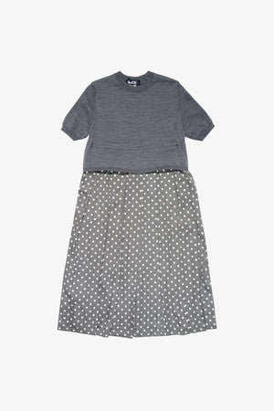 Selectshop FRAME - COMME DES GARÇONS BLACK Worsted Wool Polka Dot Short Sleeve Knit Dress Dress Dubai