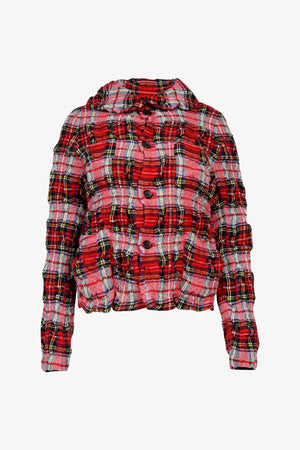 Creased Checked Print Jacket