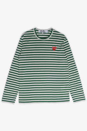 Selectshop FRAME - COMME DES GARCONS PLAY Red Heart Green Stripes Longsleeve T-Shirt Dubai