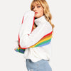 White Rolled Neck Rainbow Sweater