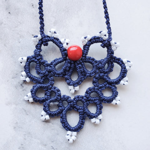 Red, White and Blue Lace Heart