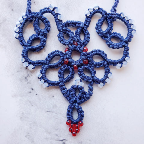 "Red, White and Blue Lace ""Heart of Compassion"""