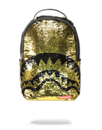 Sprayground Gold Sequin Shark Backpack