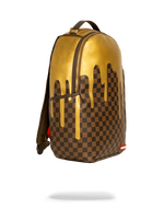Sprayground Gold Checkered Drips Backpack