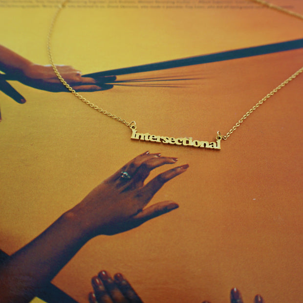 """""""Intersectional"""" Feminism 18K Gold Plated Necklace 1"""