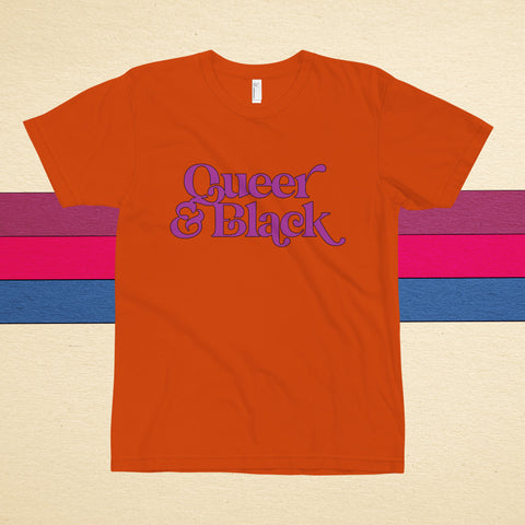 Queer & Black (sunset orange) t-shirt - Brownie Points