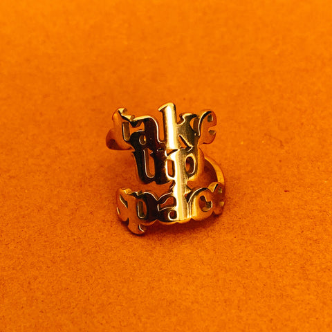 Take Up Space 18k gold plated ring - Brownie Points