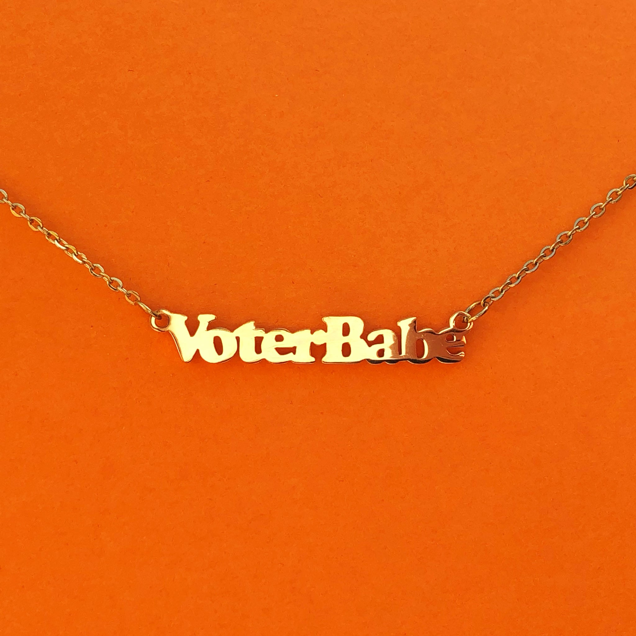 """Voter Babe"" 18k Gold plated necklace - Brownie Points"