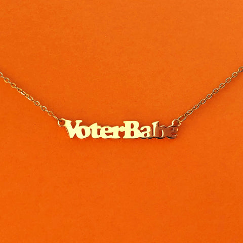 """Voter Babe"" 18k Gold plated necklace - Brownie Points for You"