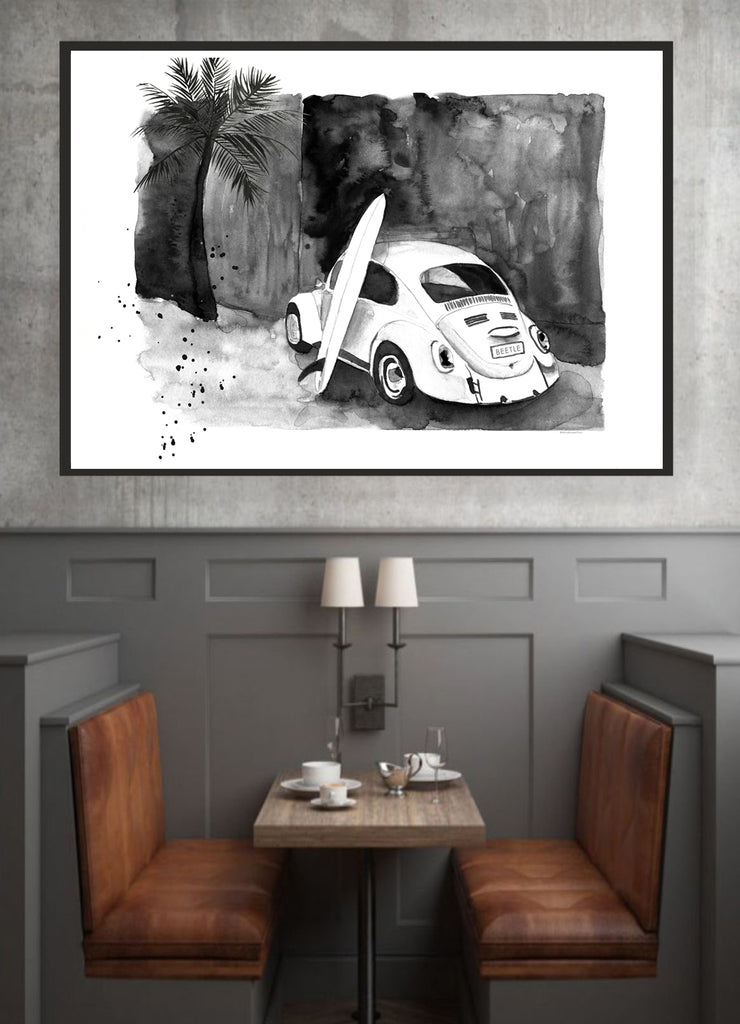 VW Beetle Surf Car monochrome