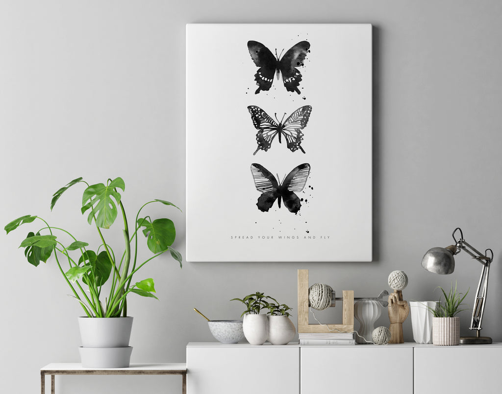 3 Butterflies Monochrome Portrait