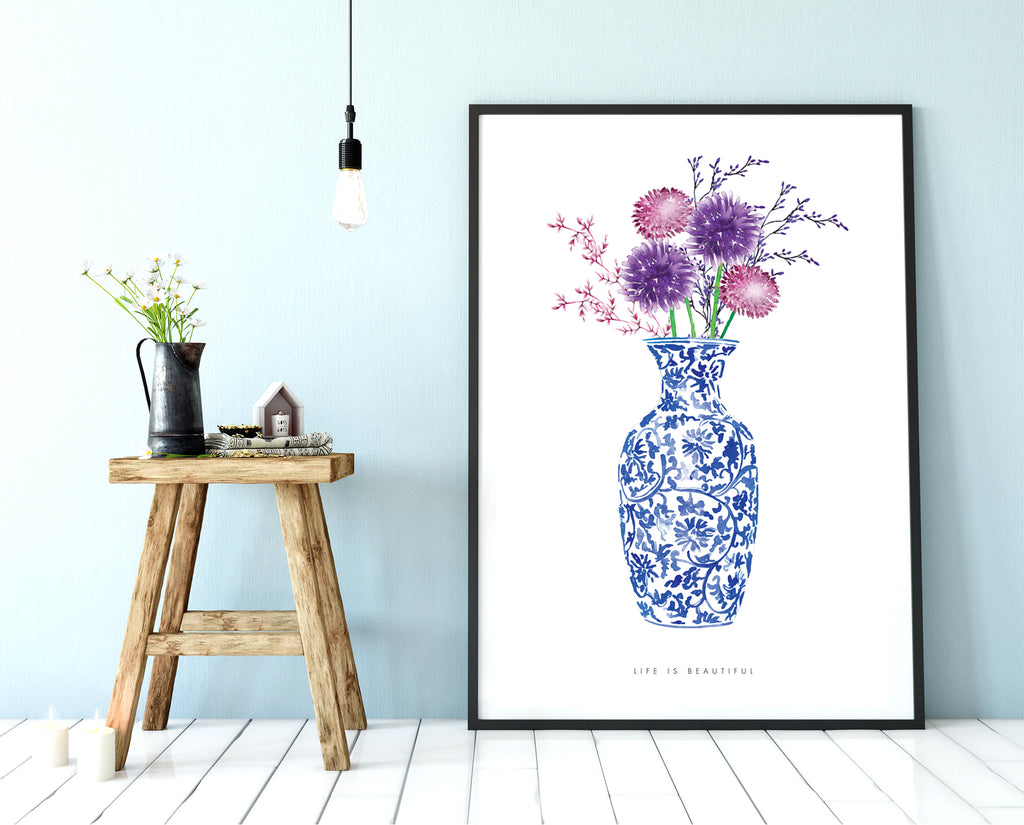 Blue Chintz Vase (tall)