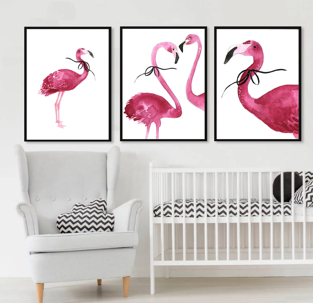 Flamingo couple with Bow - cropped