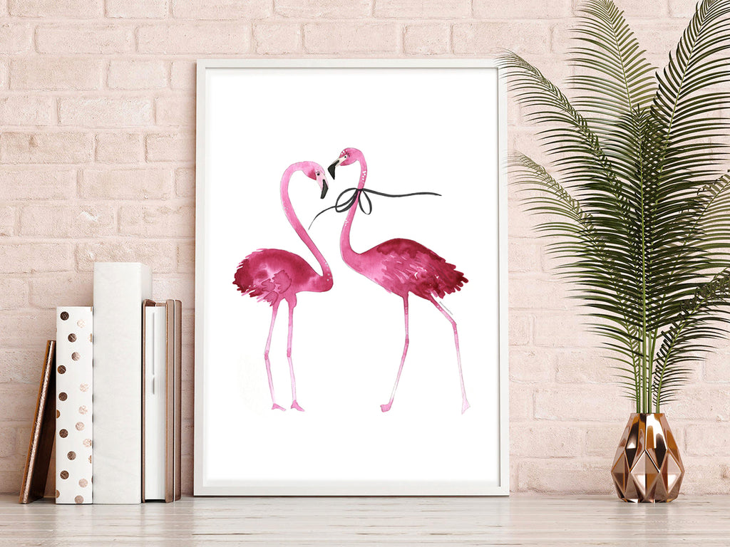 Flamingo couple with bow