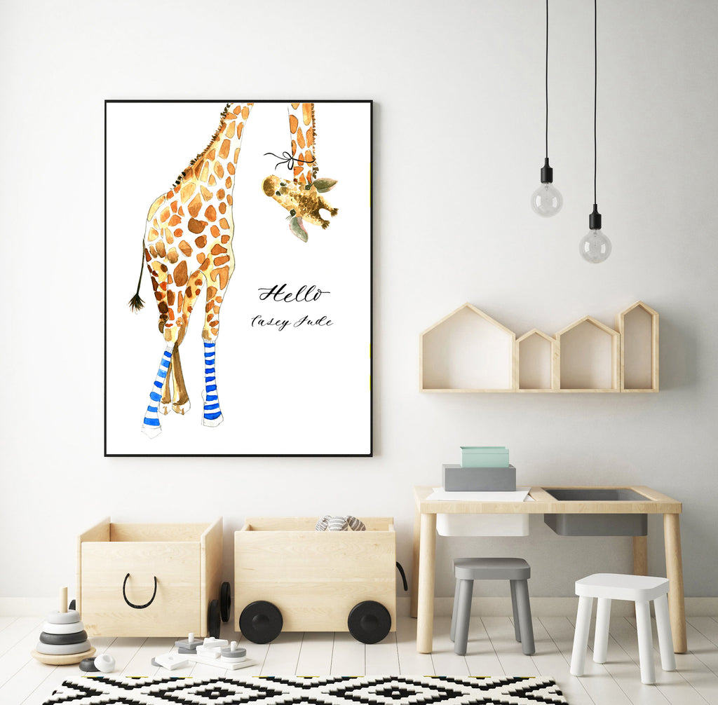 Giraffe with Blue Socks Custom
