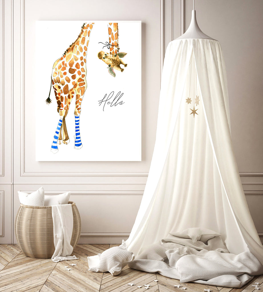 Giraffe with Blue Socks