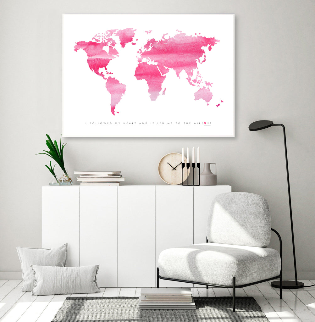 World Map - Pink