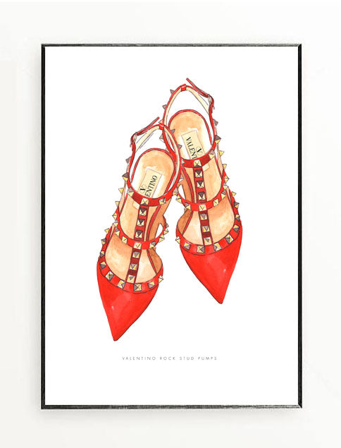 Valentino Rock Stud Shoes Red