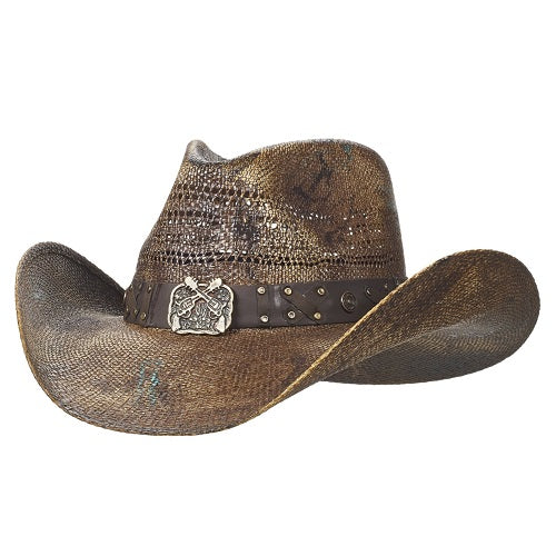 Outlaw bangora cowboy hat with crossed pistols