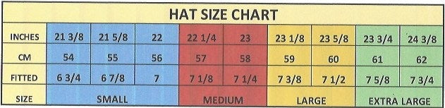 Gone Country hat sizing chart