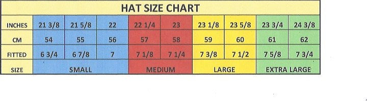 Gone Country Hats sizing chart