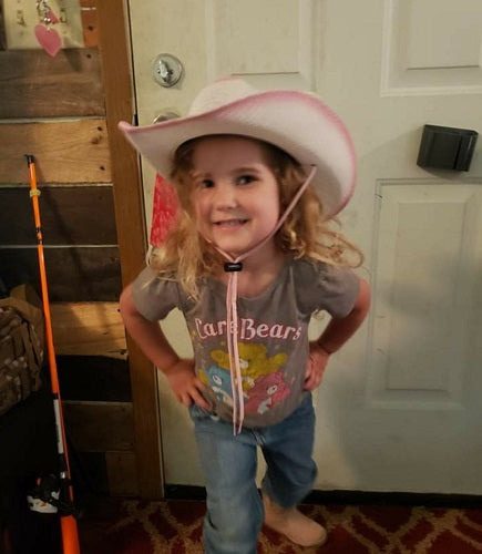 2 Step cowgirl hat ready to go fishin'