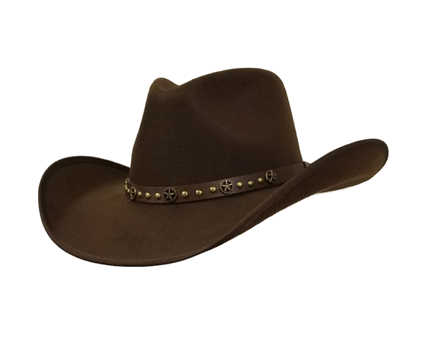 Brown faux felt pinch crown cowboy hat