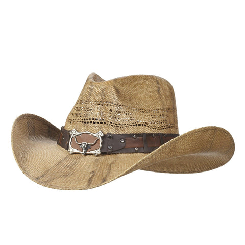 Brown bangora cowboy hat purposely dirtied with steer horns on the hatband. Gone Country Hats
