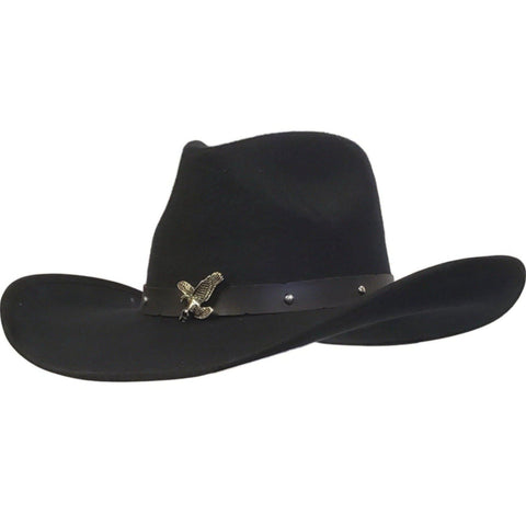 Gone Country Hats black cotton felt pinch crown cowboy hat called Aguila (Eagle)