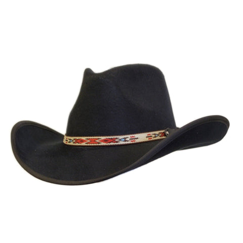 Black felt pinch cowboy hat with Navajo style hatband. Gone Country Hats