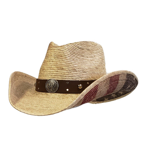 American flag and army emblem on a palm straw cowboy hat