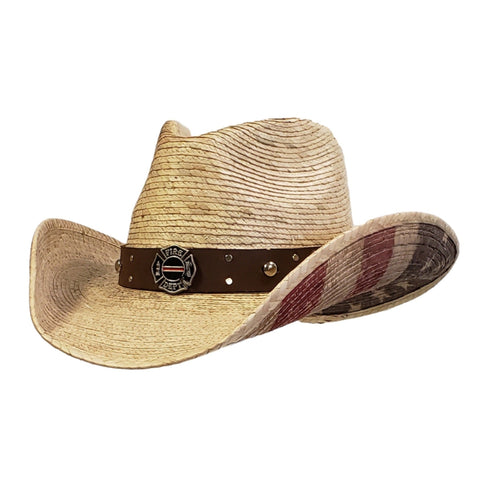 American flag and firefighter emblem on a palm straw cowboy hat