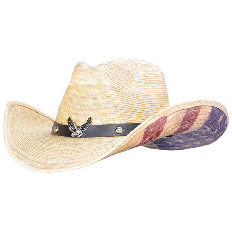 American Ride palm cowboy hat with distressed flag underneath and eagle on the hatband