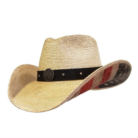 Palm leaf cowboy hat with distressed American Flag on the bottom and Police on the hatband