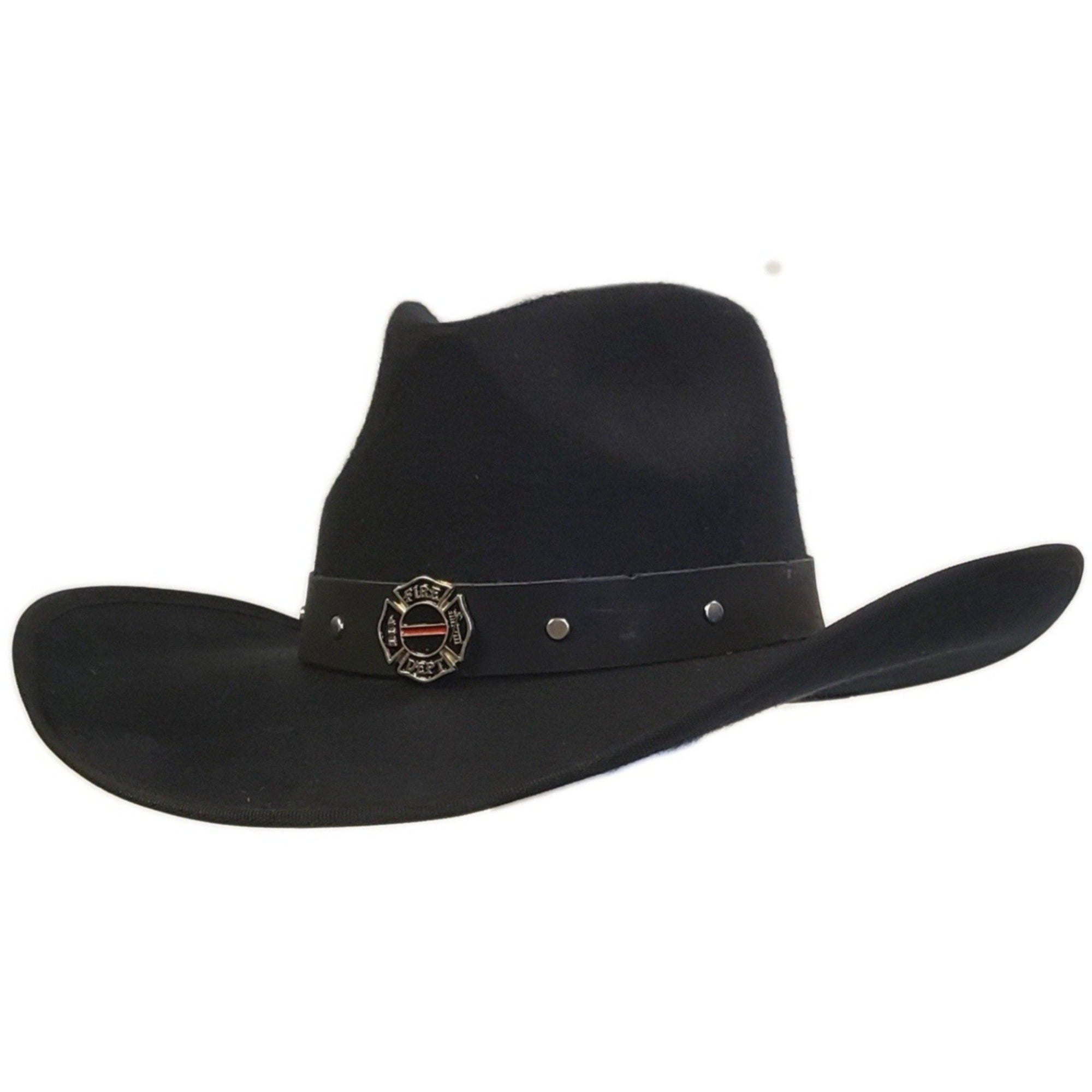 Black cotton felt pinch crown cowboy hat from Gone Country Hats with Firefighter emblem on the hatband