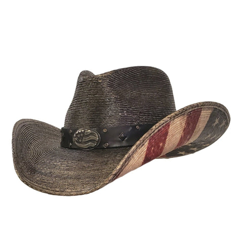 Palm straw cowboy rubbed black with an American Flag printed on the bottom