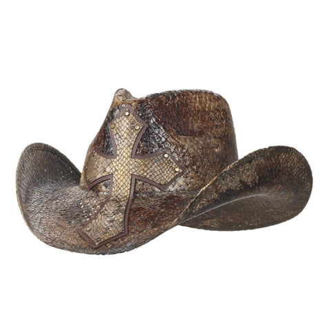 Brown woven straw cowboy hat with a cross on front