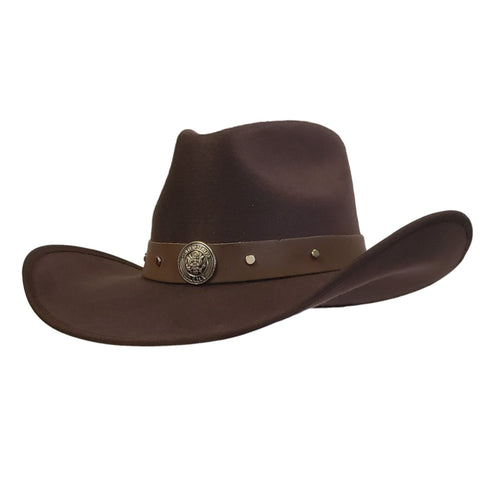 Brown cotton felt cowboy hat with Army emblem. Cowoby hat from Gone country Hats.
