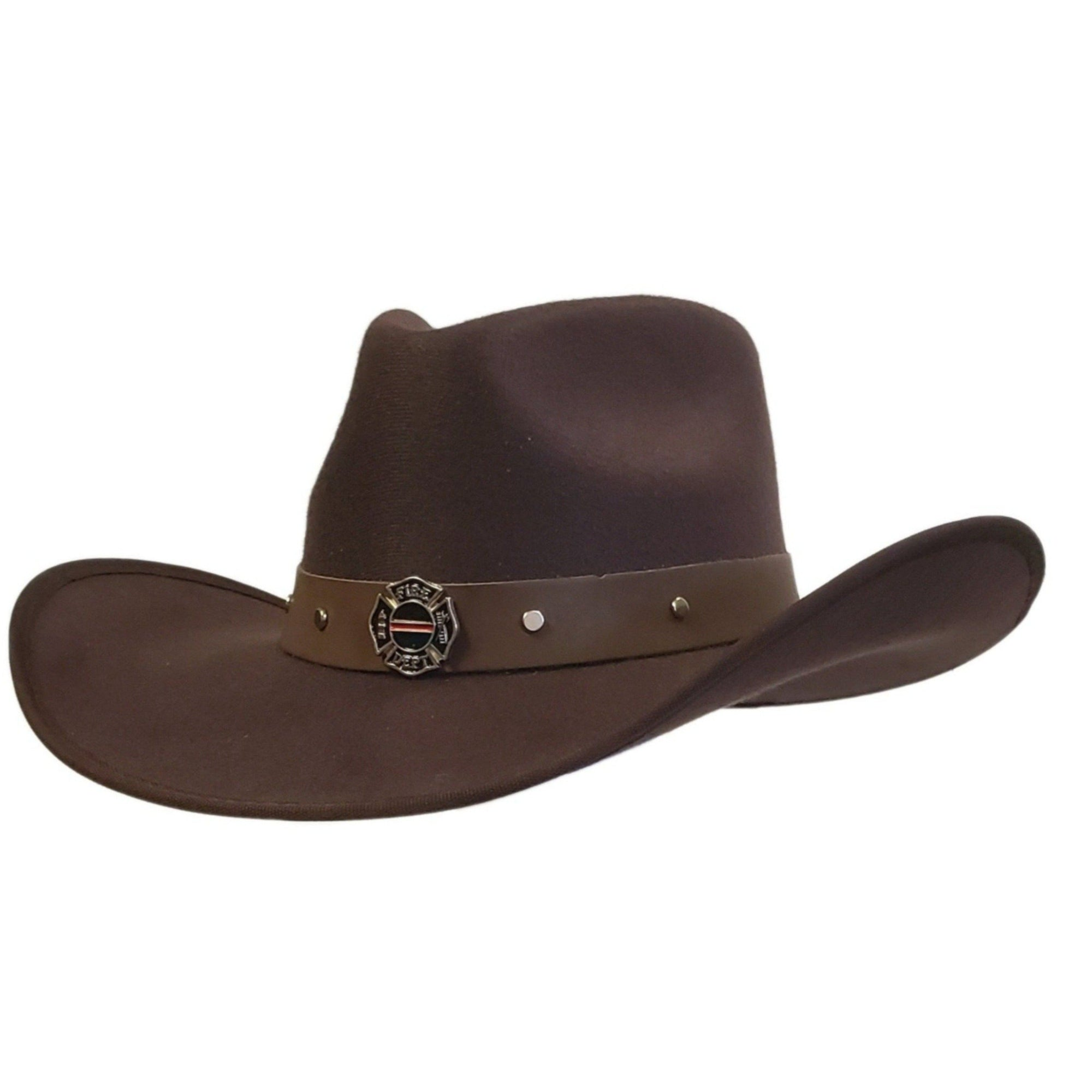 Brown cotton felt cowboy hat with Firefighter emblem. Cowoby hat from Gone country Hats.