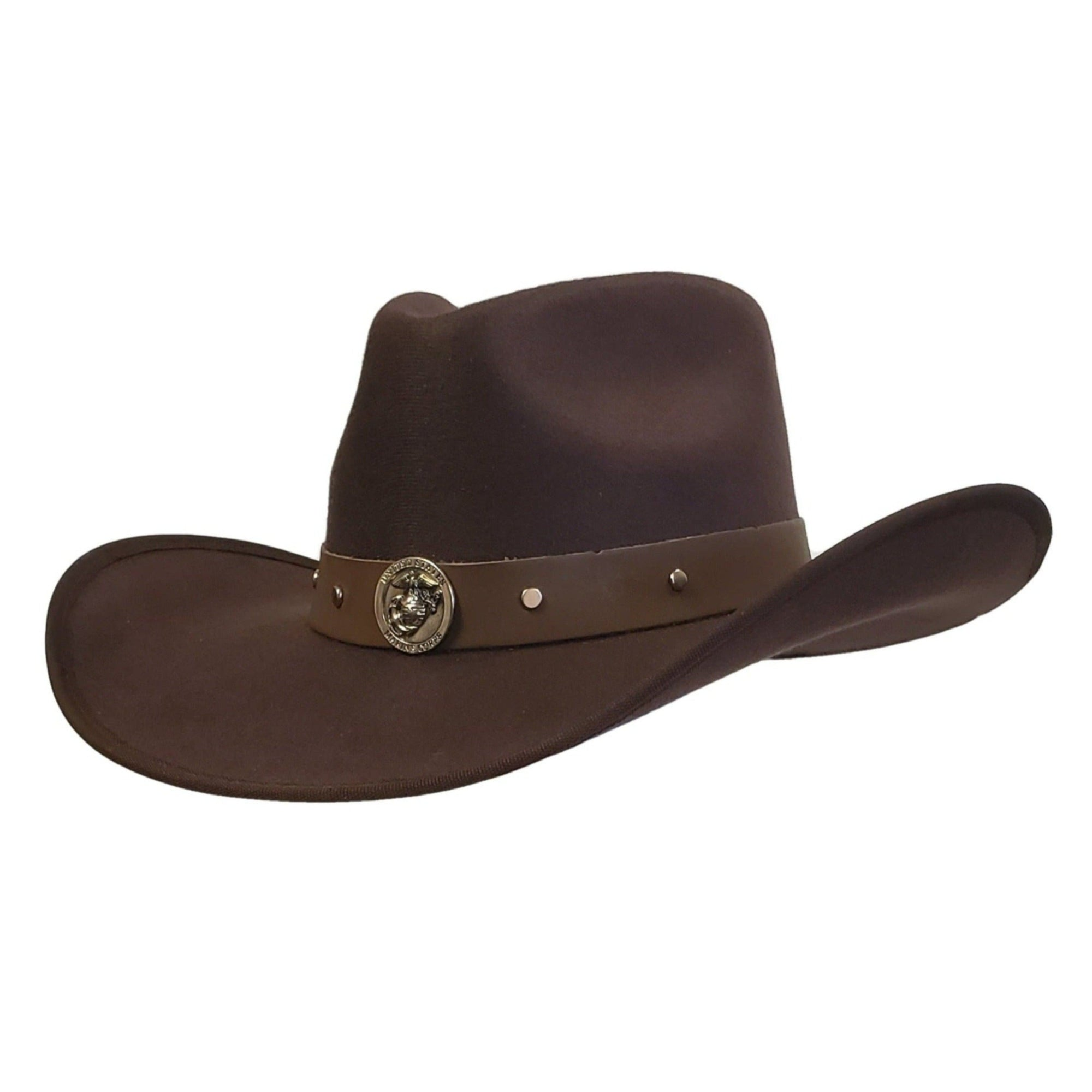 Brown cotton felt cowboy hat with Marines emblem. Cowoby hat from Gone country Hats.
