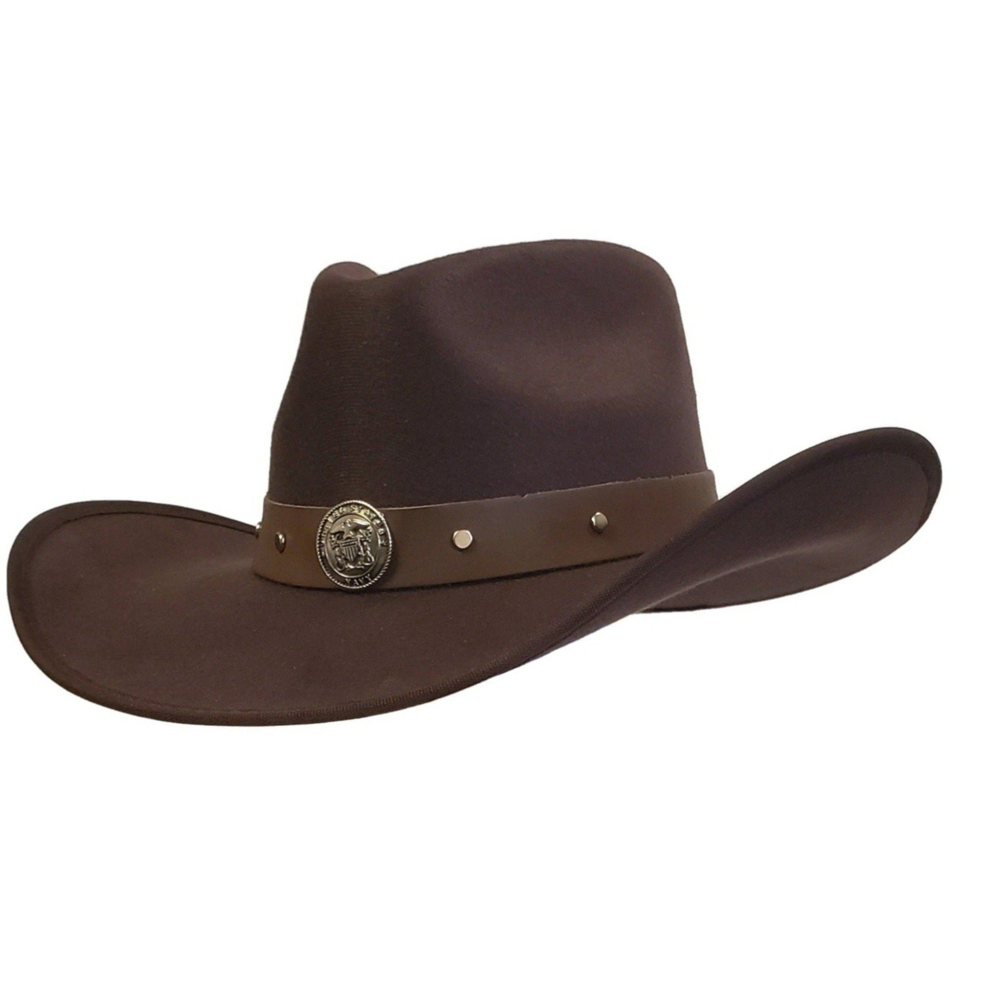 Brown cotton felt cowboy hat with Navy emblem. Cowoby hat from Gone country Hats.