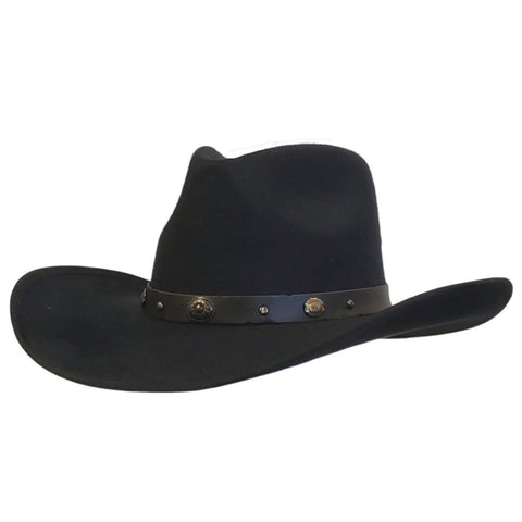 Black cotton felt pinch crown cowboy hat from Gone Country Hats.