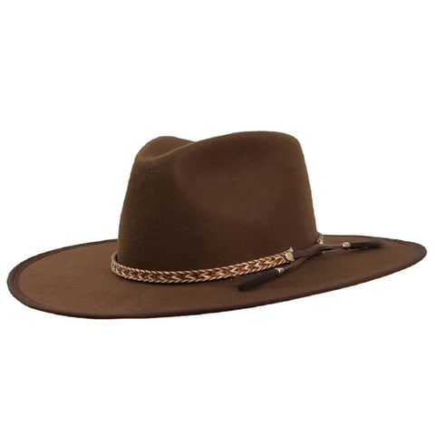 flat brim brown western hat
